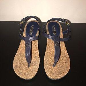 Ralph Lauren Reeta Blue Sandals. EUC